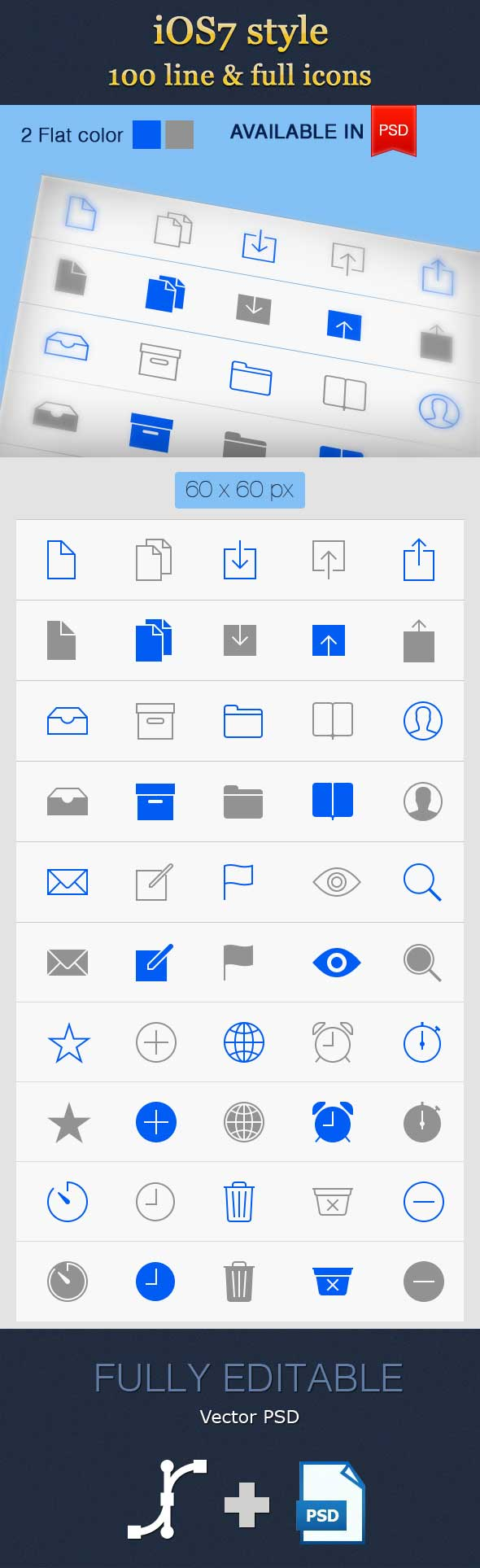 100 Incredible Line Icon Set for IOS7