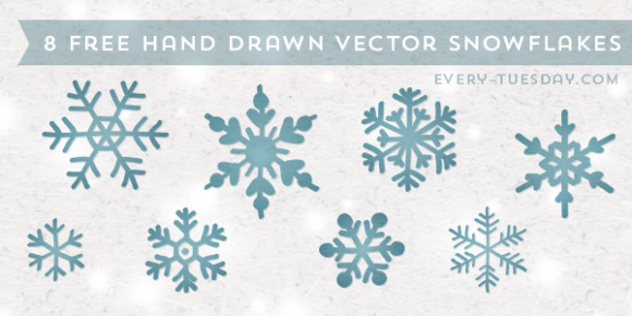 8 Free Hand Drawn Vector Snowflakes