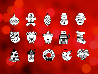 Freebie Flat Line Holiday Icons