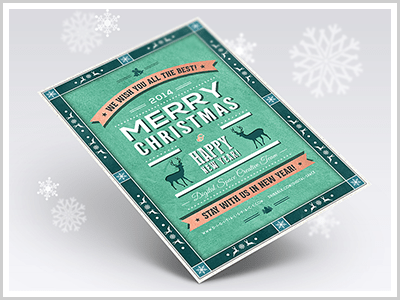 Retro Christmas and New Year Flyer