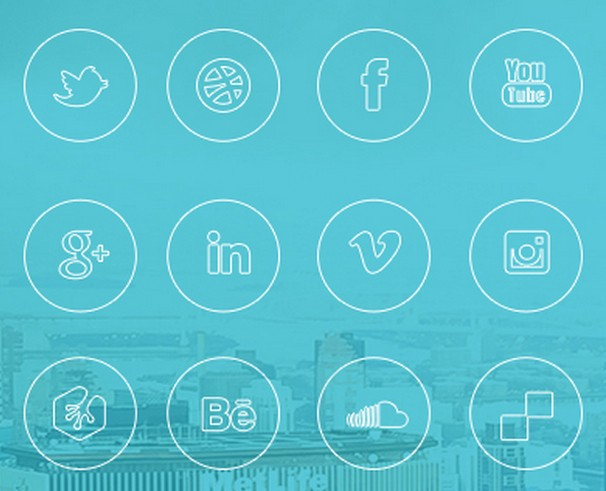 iOS 7 Style Social Media Icon Set PSD & PNG