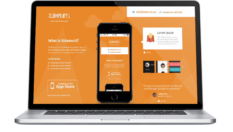 Sidamurti FREE PSD landing page for Apps