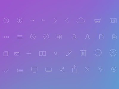 Simple Line Icons PSD