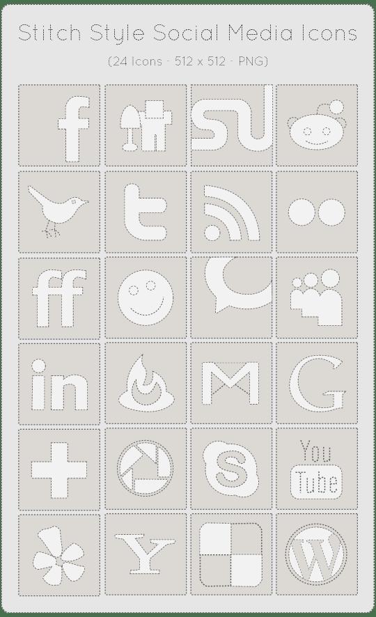 24 Stitch Styled Social Media Icons Set