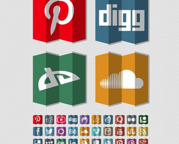 40 Free Folded Social Media Icons