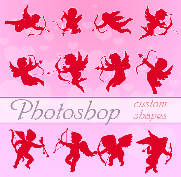 Valentine Cupids Photoshop Custom Shapes