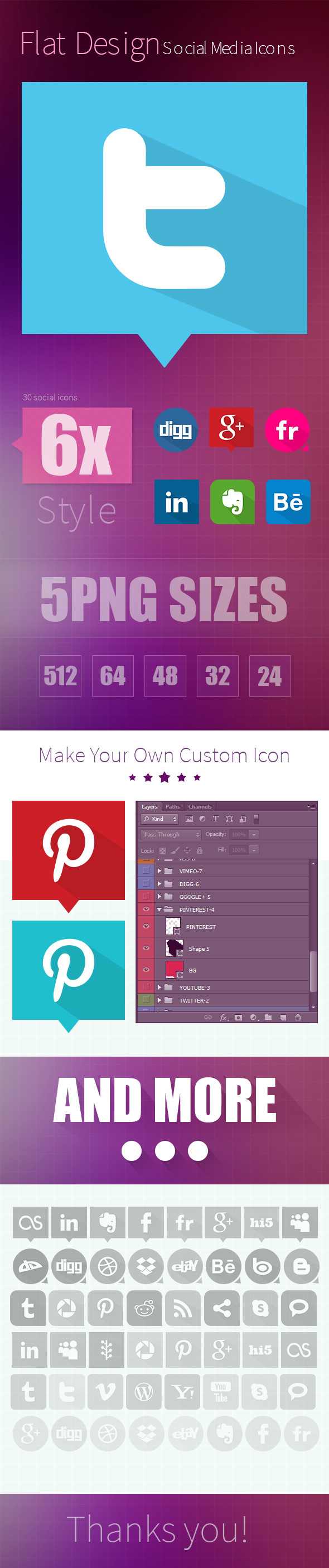 30x6style Flat Social icon