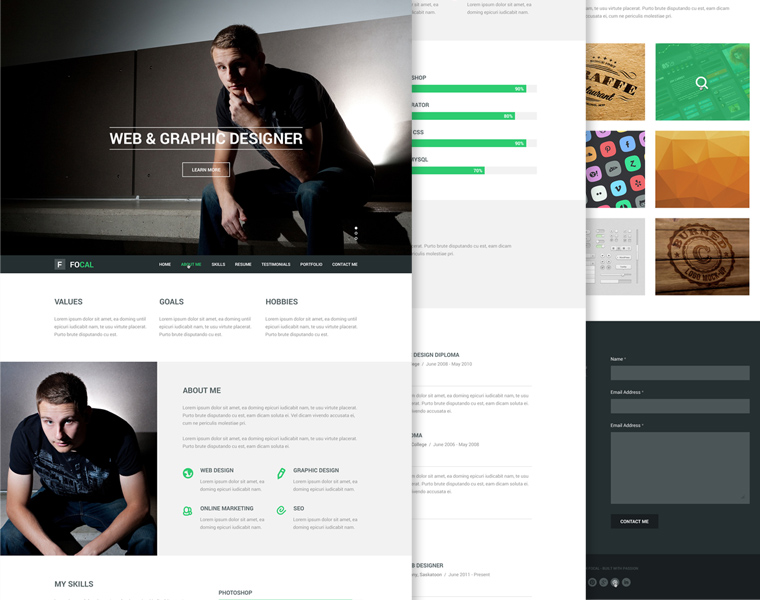 FOCAL RESUME PSD THEME