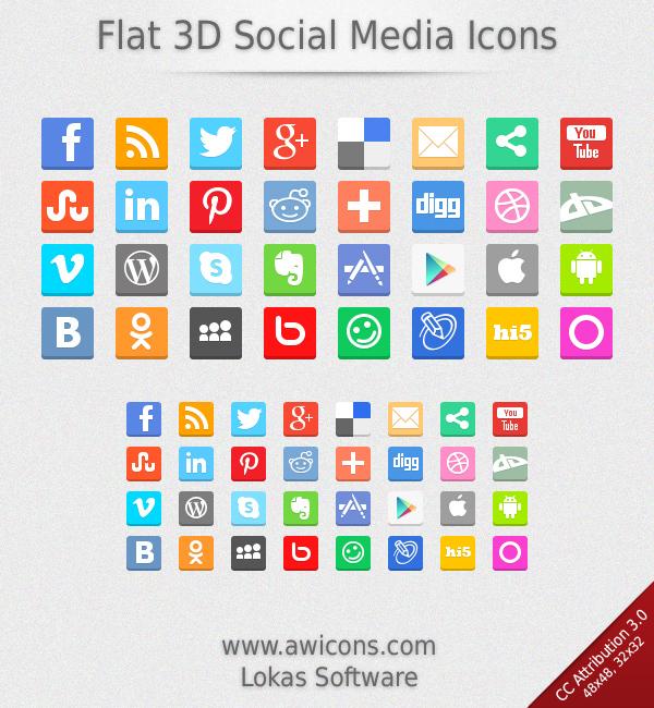 Flat 3D Social Media Icons