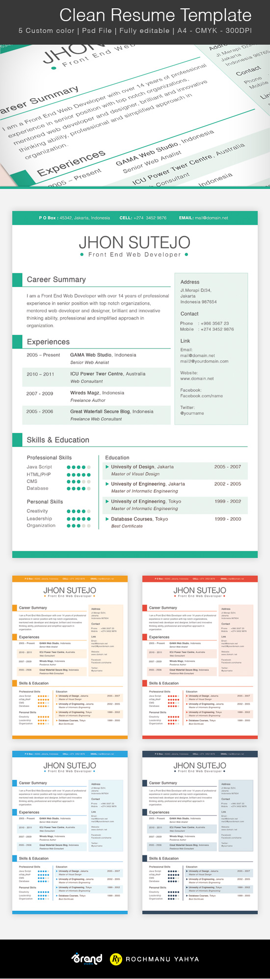 Free Clean Resume Template - 5 Colors
