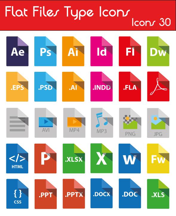 Icons File type flat Freebie