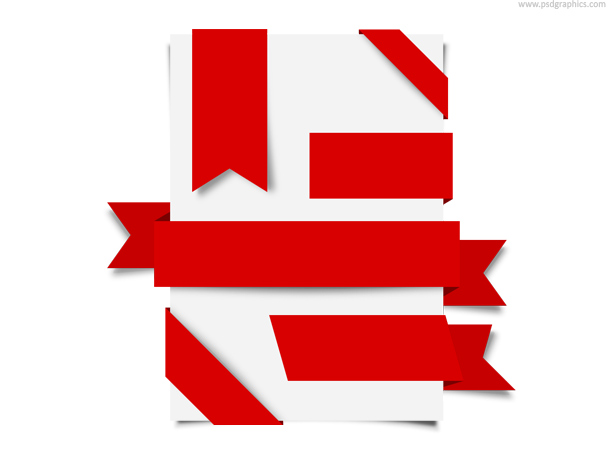 Red ribbons set (PSD)