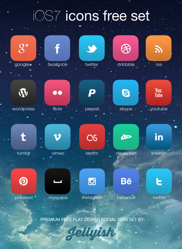 iOS7 inspired social icon set