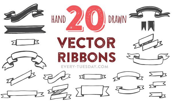 20 Hand Drawn Vector Ribbons