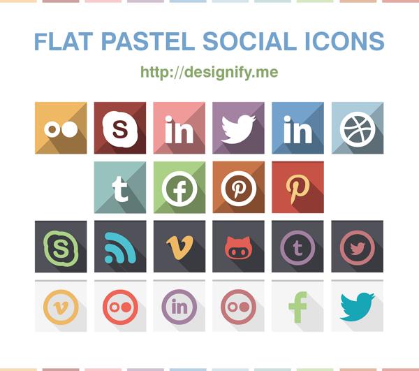 Flat Pastel Social Icons