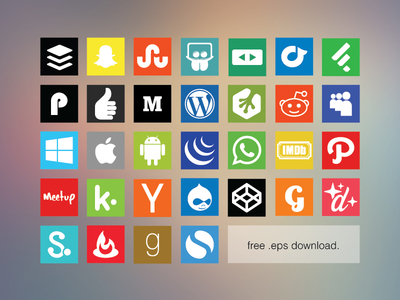 Free Flat Social Media Icon Set 2