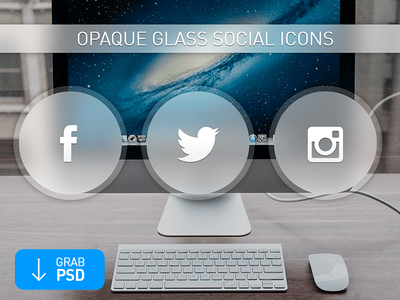 Opaque Glass Social Icons