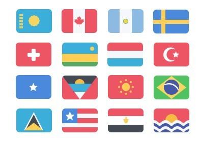 195+ Flat National Flag Icons