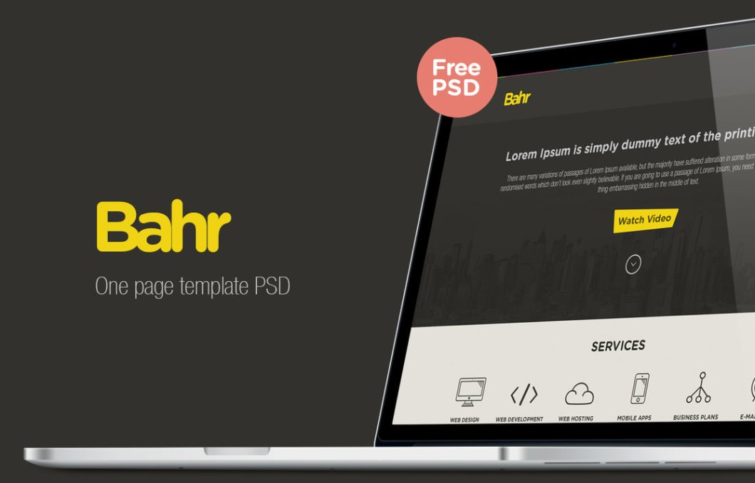 Bahr One Page Template PSD freebie