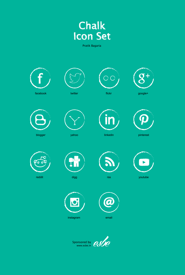 Chalk Free Social Media Icon Set