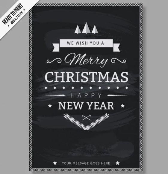 Free CMYK Black and white Christmas card