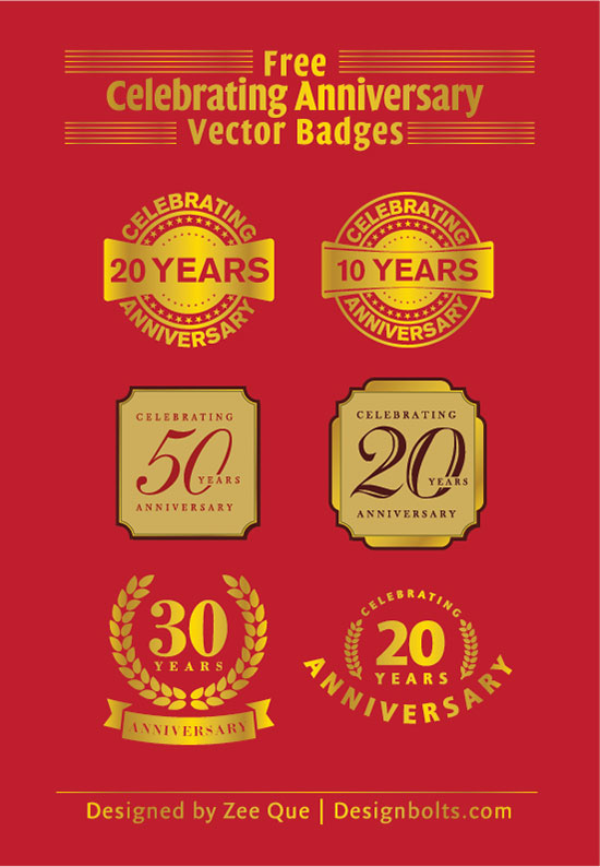 Free Celebrating 20 Years Anniversary Vector Badges