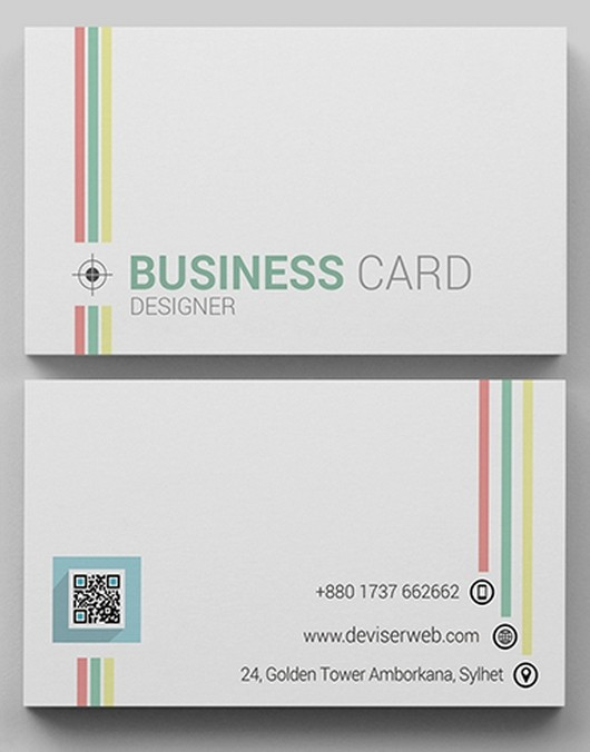 Free Colorful Line Business Card Template