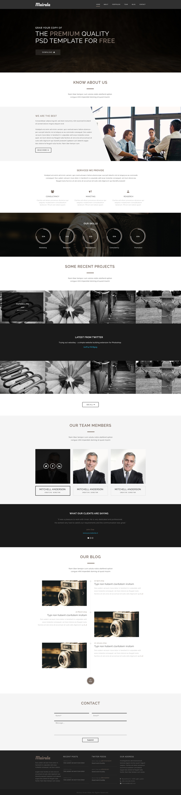 One Page Corporate Agency PSD Template MAIRALA