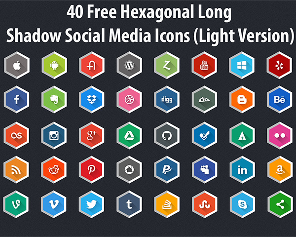 40 Free Hexagonal Long Shadow Social Media Icons