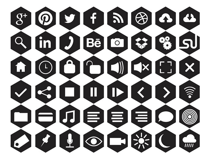 FREE HEXAGONAL ICONS (SVG + PNG)
