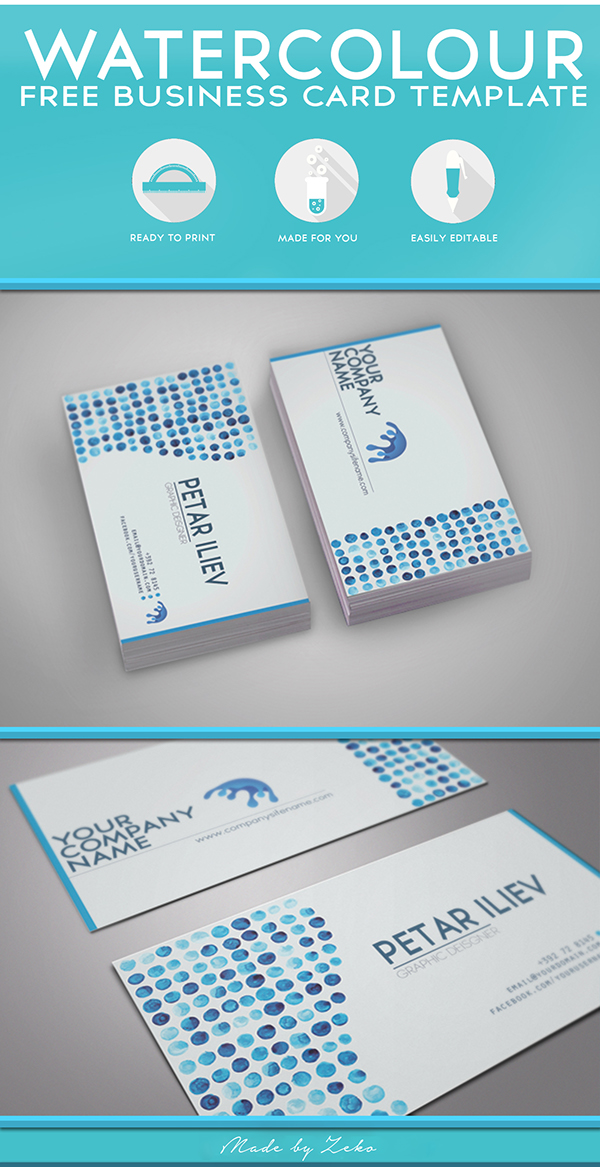 Free Watercolor Business Card Design
