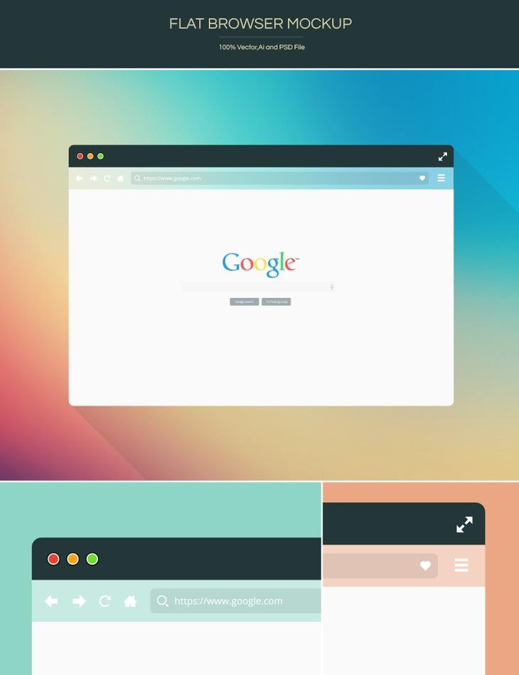Free Flat Browser Mockup