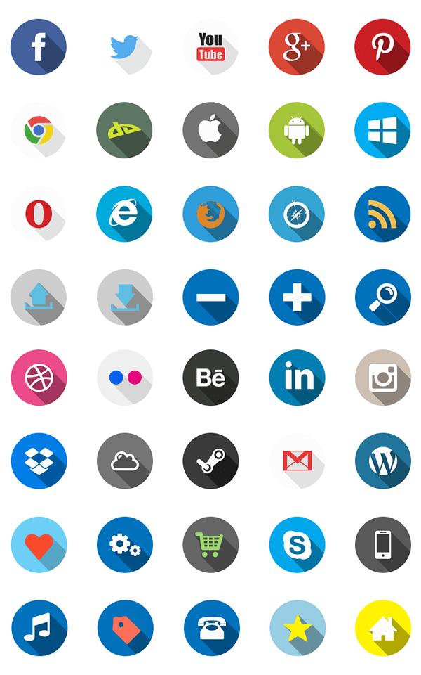 40 Flat Long Shadow Icons