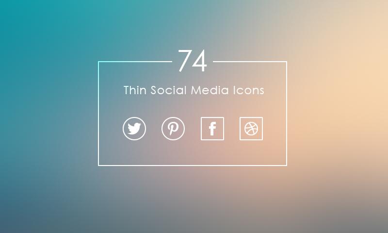 74 Thin Social Media Icons