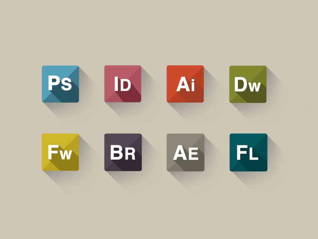 Adobe App Flat Icons