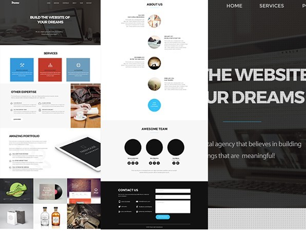 Dream One Page Web Template PSD