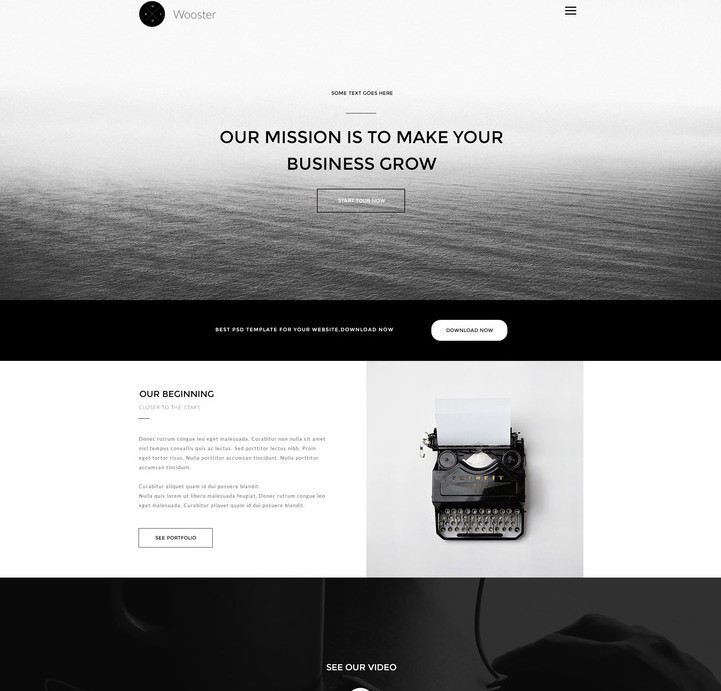 Wooster - Vintage Single Page PSD Theme