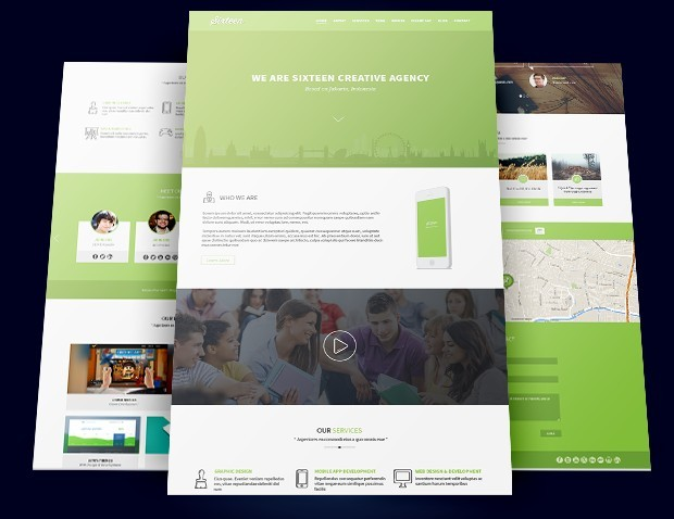 Sixteen Flat One Page Agency Template PSD
