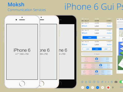 iPhone 6 Gui Kit PSD