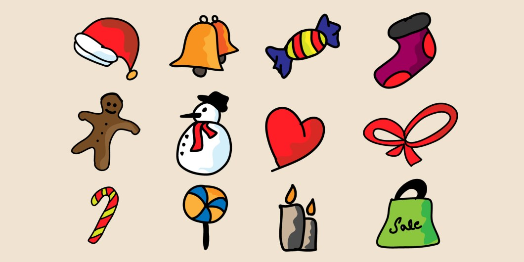 12 Free Hand Doodle Christmas Icons