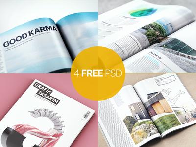 4 Free Magazine Mock-Ups