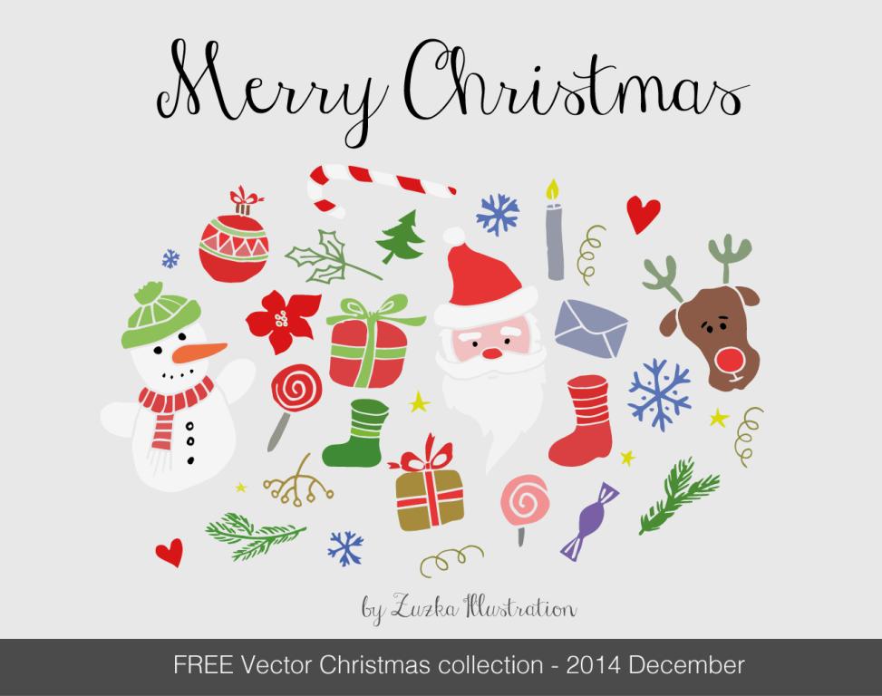 FREE Merry Christmas vector set