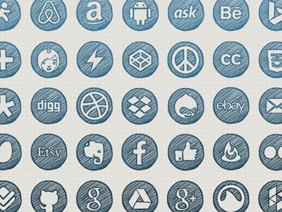 Hand-drawn Social Icons
