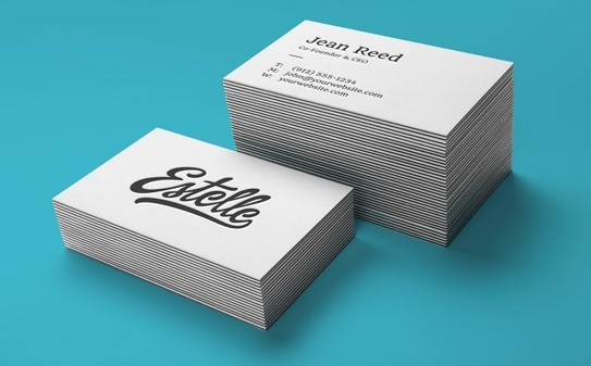 Stack Letterpress Business Cards MockUp