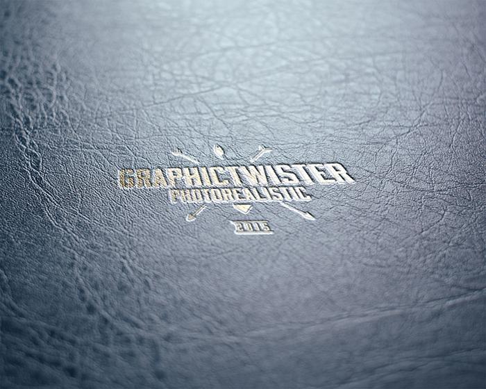 Gold Leather Stamping Logo MockUp