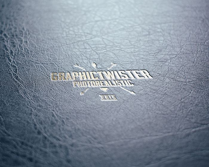 Gold Leather Stamping Logo MockUp