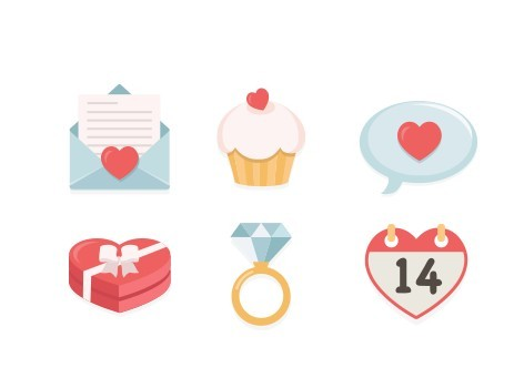 6 Vector Valentine's Day Icons