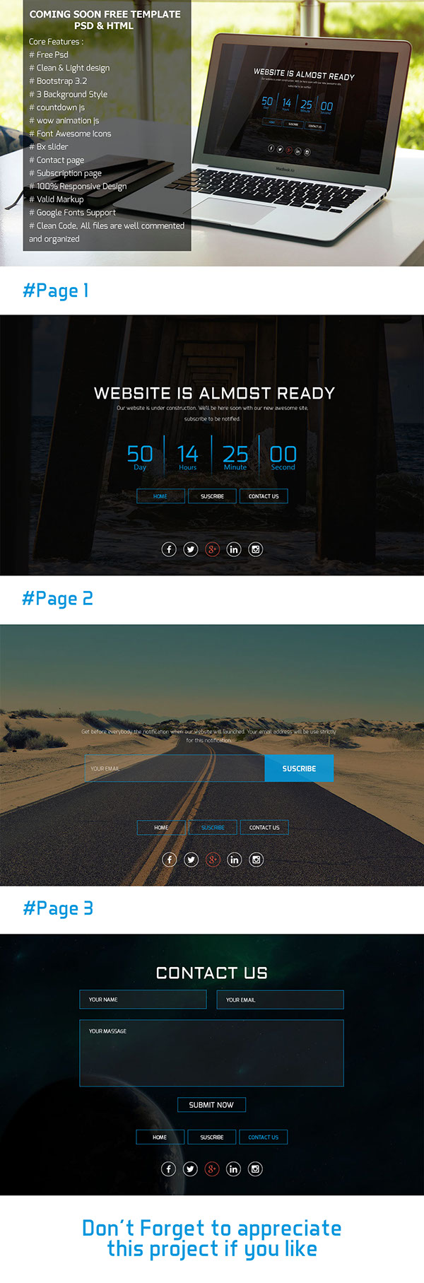 Coming Soon PSD & HTML Template (Freebie)