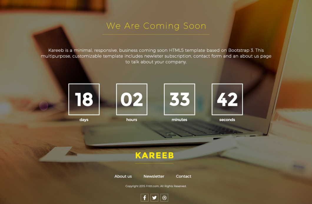 Kareeb A Free HTML Coming Soon Website Template