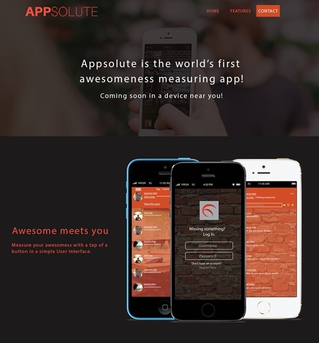 APPSOLUTE v2 App landing Page FREE